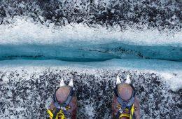 Crampones de escalada en glaciar