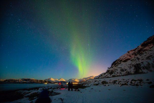 Aurora boreal en el norte de Noruega