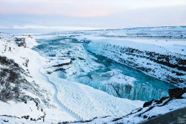 La Cascada de Gullfoss en invierno