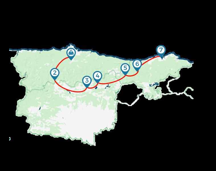 Mapa viaje Montañas de Leyenda
